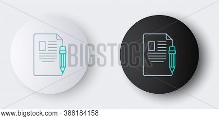 Line Exam Sheet And Pencil With Eraser Icon Isolated On Grey Background. Test Paper, Exam, Or Survey