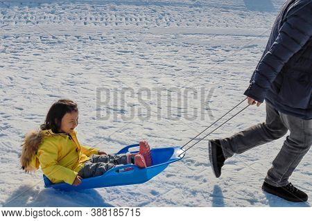 Hokkaido, Japan - December 2019 : Photo Of A Family And Children Are Playing Ski Sliders Together In