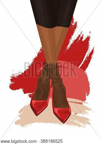 Female Legs In Shoes. Woman Wearing A Dress And Shoes. Nylon Tights And Pumps. Modern Design. Fashio