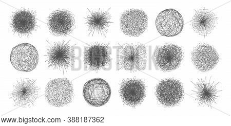 Tangled Chaos Abstract Hand Drawn Messy Scribble Ball Vector Illustration Set. Random Chaotic Dynami