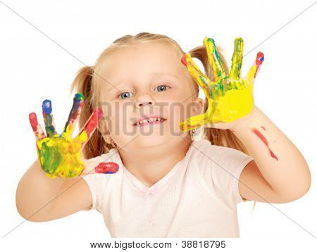 Child painting , isolated on white background