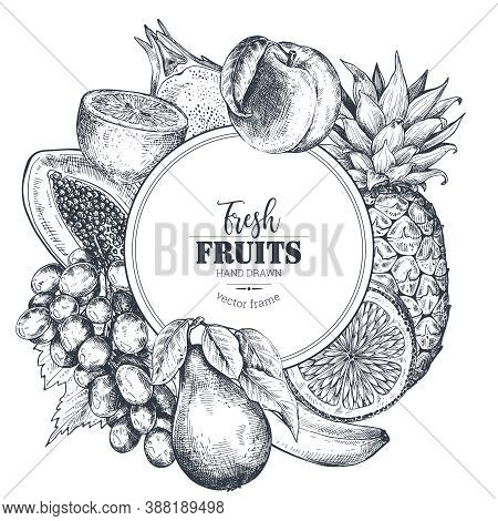 Frame With Hand Drawn Vector Fresh Fruits In Sketch Style. Round Border Composition