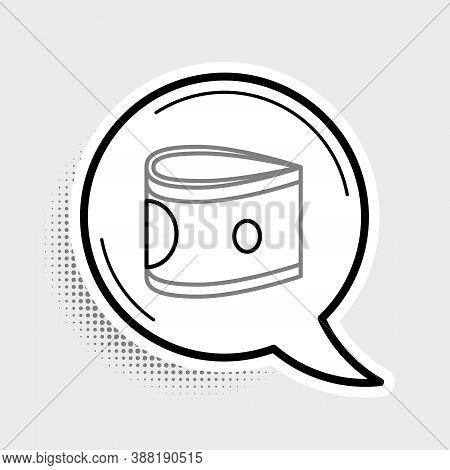 Line Stacks Paper Money Cash Icon Isolated On Grey Background. Money Banknotes Stacks. Bill Currency