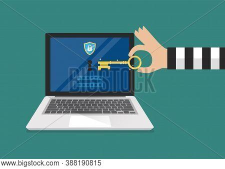 Hacker Try To Unlock Laptop. Ransomware Malware Virus Computer. Vector Illustration