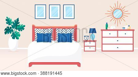Bedroom Interior. Vector Illustration. Design Of A Trendy Room With Double Bed, Bedside Table, Dress