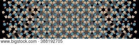 Modern Islamic Pattern. Geometric Halftone Texture With Color Tile Disintegration Or Breaking
