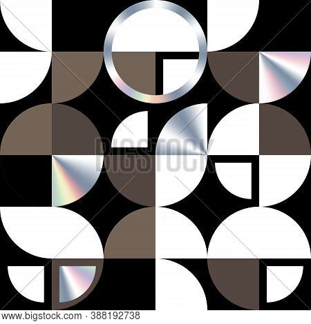 Modern Holographic Texture With Circle And Quarters. Geometric Swiss Modernism Vector Seamless Patte