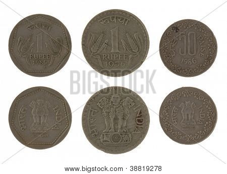 Indian rupee coins isolated on white poster
