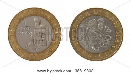 Old Sammarinese 1000 lira coins isolated on white poster