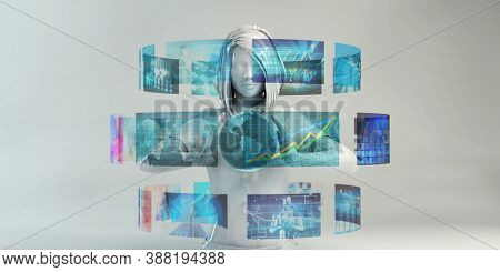 Technology Abstract Background with Woman Using Advanced Software 3D render