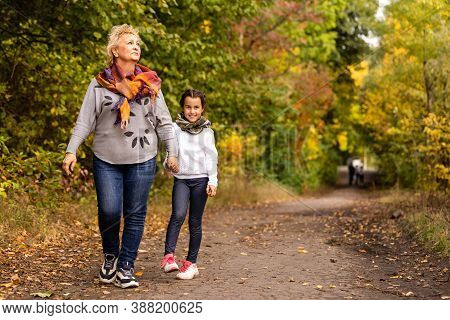 Grandmother With Her Granddaughter For A Walk During The Fall Of The Leaves In The Park