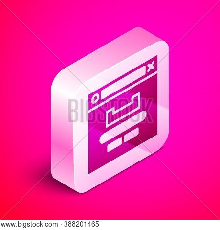 Isometric Browser Window Icon Isolated On Pink Background. Silver Square Button. Vector Illustration