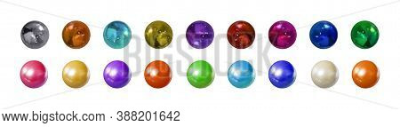Vector Set Of Different Colored Spheres, Colorful Illustration, Metallic And Plastic 3d Balls Isolat