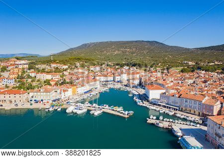 Panoramic View Of Old Town Of Cres On The Island Of Cres, Adriatic Sea In Croatia