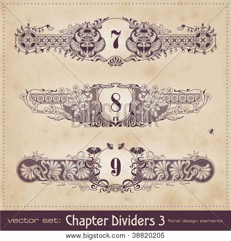 retro floral chapter dividers (set 3)