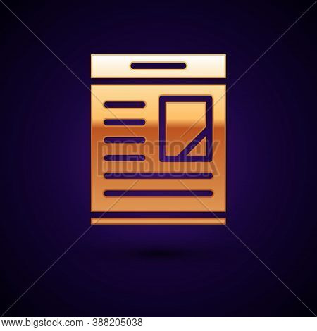 Gold Newspaper Advertisement Displaying Obituaries Icon Isolated On Black Background. Vector