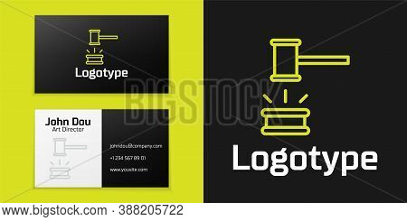 Logotype Line Judge Gavel Icon Isolated On Black Background. Gavel For Adjudication Of Sentences And
