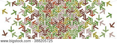 Autumn, Leaves Geometric Border. Islamic Vector Pattern. Colorful Decor With Mosaic And Tile Disinte