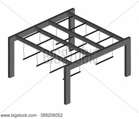 Moving Horizontal Bar With Trapeze For Outdoor Competitions. Isometric Vector Icon For Sporting Even