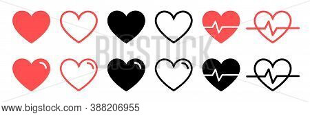 Like And Heart Icon. Live Stream Video, Chat, Likes. Social Nets Like Red Heart Web Buttons Isolated