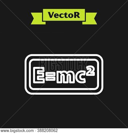 White Line Math System Of Equation Solution Icon Isolated On Black Background. E Equals Mc Squared E
