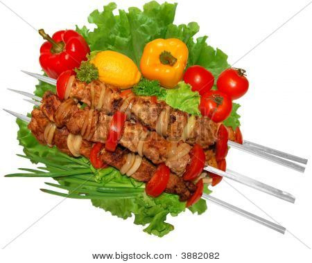 Barbecue, Grill, Kebab With Vegetables (With Clipping Path)