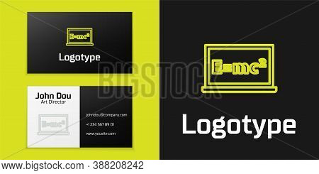 Logotype Line Math System Of Equation Solution On Chalkboard Icon Isolated On Black Background. E Eq