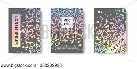 Disintegration Geometric Poster Set. Rainbow Holographic Cover Design With Arabic Mosaic. Vector A4