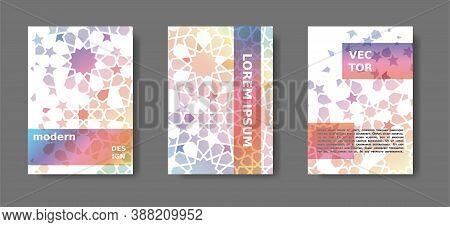 Rainbow Cover Design With Arabic Mosaic.disintegration Geometric Poster Set. Vector A4 Catalog, Maga