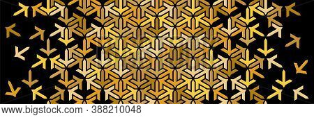 Rich Golden Black Decor With Mosaic And Tile Disintegration. Geometric Border. Islamic Vector Patter