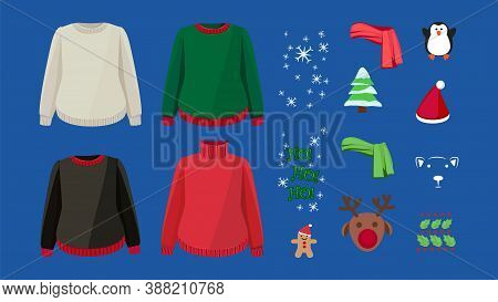 Ugly Sweater Design Kit. Warm Cardigans And Winter Christmas Decorations. Holidays Clothes Vector Se