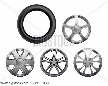 Car Rims. Realistic Wheels Vehicle Tyres Collection Vector Closeup Pictures Set Isolated. Rubber And