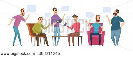 Male Discussion. Men Talking, People Have Conversations. Man Club Dialogue Vector Illustration. Male