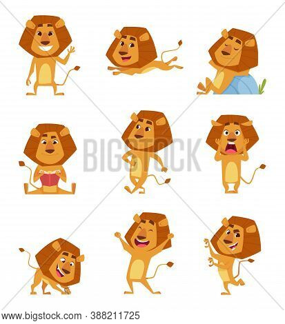 Wild Lion Cartoon. Cute African Big Lions Mascot In Various Poses Walking Standing Jumping Relaxing