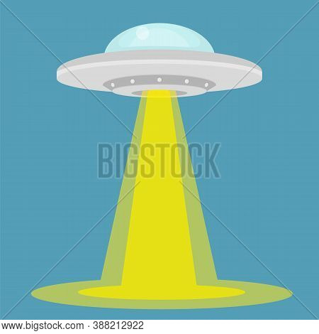 Ufo - Alien Spaceship With Lights. Isolated On Background. Vector Illustration.