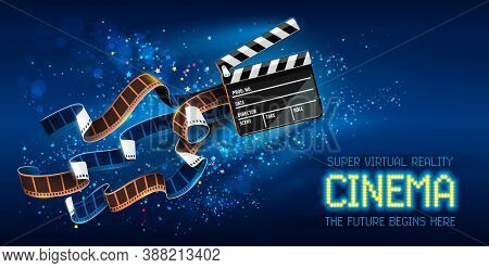 Cinema producers clapperboard for film making flying in Space with trails of stars and film-strip films. Super virtual reality online movie theater concept on blue background. 3D illustration.