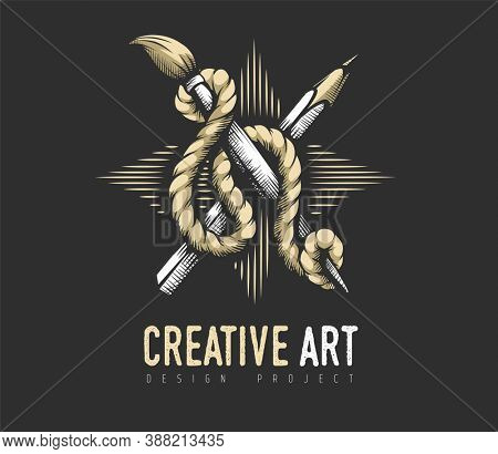 Creative Art concept. Heraldic emblem of pencil, brush artist drawing tools binded with rope on star of strokes. Symbol graphics, art design. Hand drawn. 3D illustration.