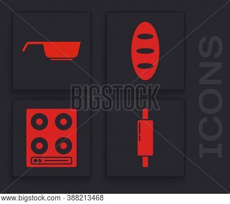 Set Rolling Pin, Frying Pan, Bread Loaf And Gas Stove Icon. Vector