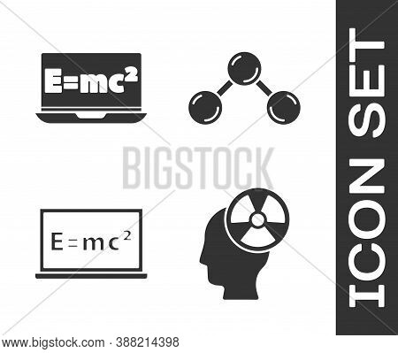 Set Head And Radiation Symbol, Equation Solution, Equation Solution And Molecule Icon. Vector