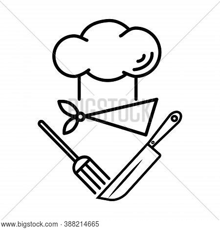 Sketch Design Logo For A Chef. Chef's Hat, Fork And Chef's Knife Isolated On White Background. Linea