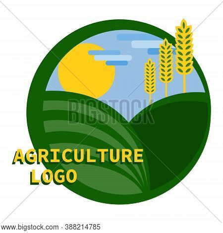 Logo For The Agricultural Industry Made From The Field, Sun, Blue Sky And Ears Of Wheat. Agriculture