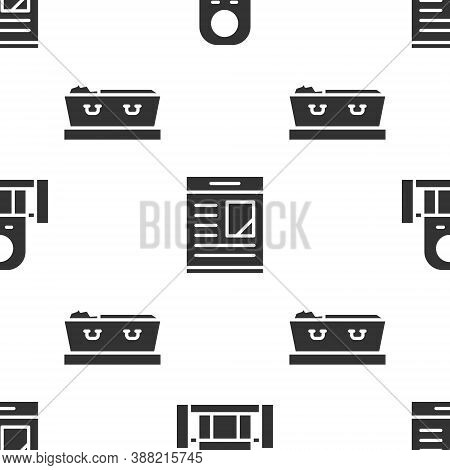 Set Grave With Tombstone, Obituaries And Coffin With Dead On Seamless Pattern. Vector