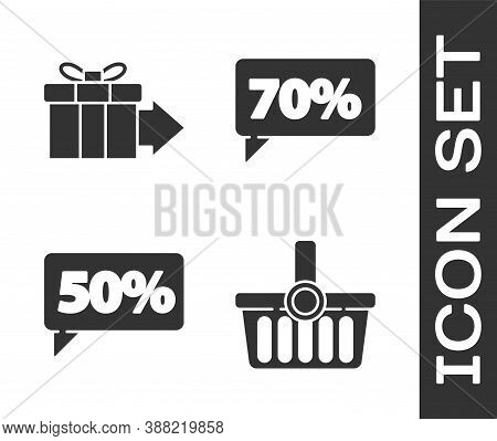 Set Shopping Basket, Gift Box, Fifty Discount Percent Tag And Seventy Discount Percent Tag Icon. Vec