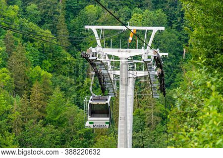 Vilemovice, Czech Republic - June 16, 2020: Cableway From Punkva Caves To The Upper Viewing Point Of