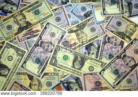 Lots Of Dollars. Fifty Dollars, One Hundred Dollars, Twenty Dollars, Five Dollars, One Dollar Bills,