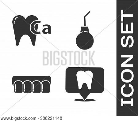 Set Dental Clinic Location, Calcium For Tooth, Dentures Model And Enema Pear Icon. Vector