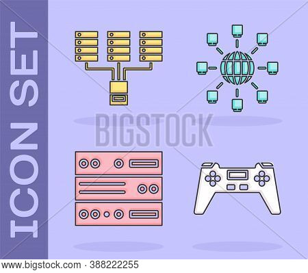 Set Gamepad, Server, Data, Web Hosting, Server, Data, Web Hosting And Social Network Icon. Vector