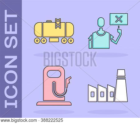 Set Oil Industrial Factory Building, Oil Railway Cistern, Petrol Or Gas Station And Nature Saving Pr