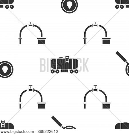 Set Oil Drop, Oil Railway Cistern And Industry Pipe And Valve On Seamless Pattern. Vector