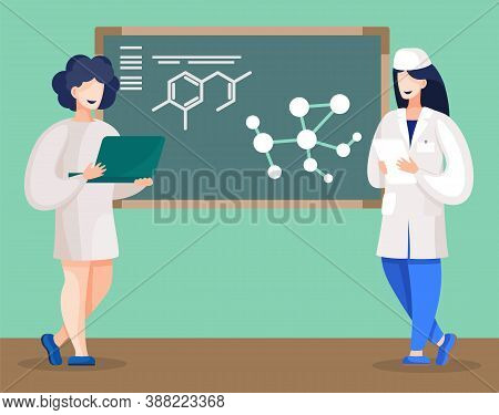 Student Of Medical Faculty Standing By Blackboard Explaining Ideas Of Final Project. Chemists Repres